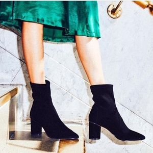 🆕 STUART WEITZMAN black stretch suede ankle boots